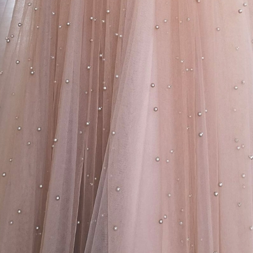 Cappuccino Pearls on Tulle