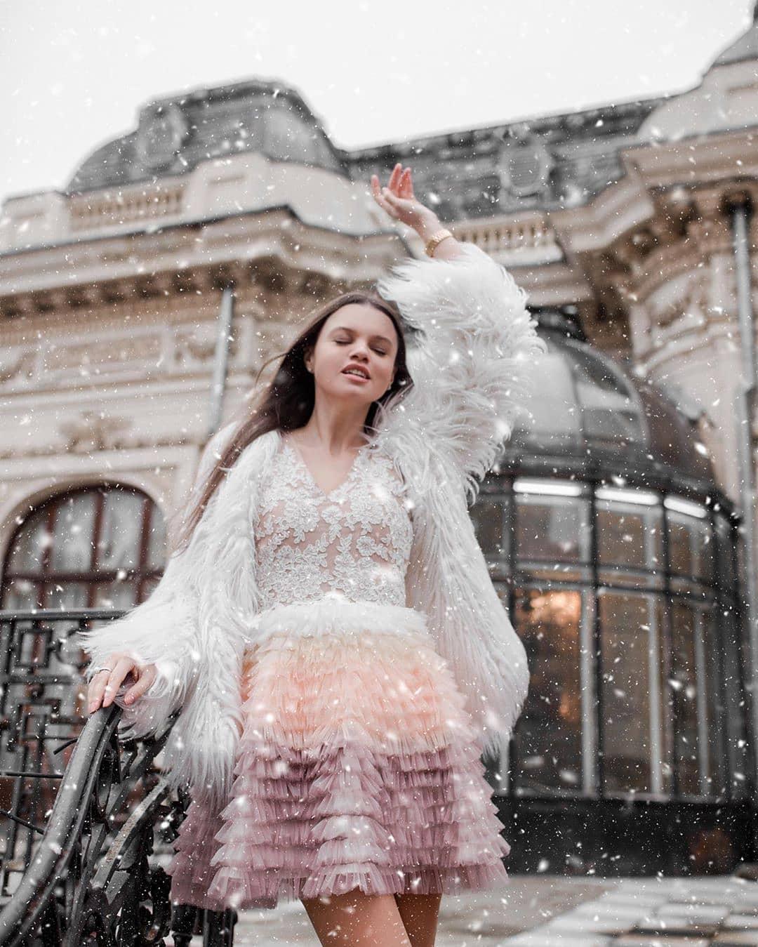 Rochie volane tul multicolora (Unicat)